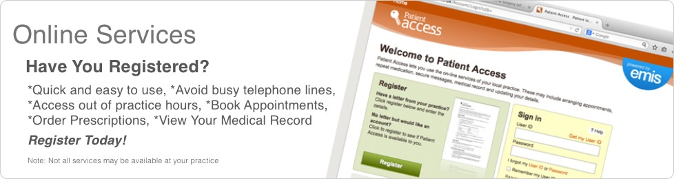 Online Appointment Booking, Repeat Prescriptions and Medical Record Summary